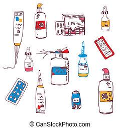 Pills and medical bottles doodle set