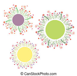Round floral frames set with butterflies