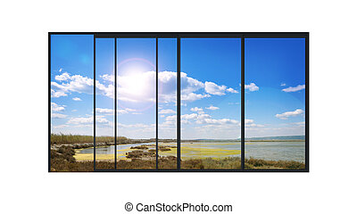 panoramic modern window with a lake landscape