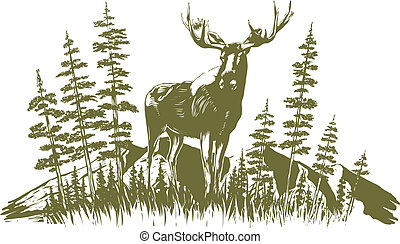 Woodcut Moose Design - Woodcut-style illustration of a moose...