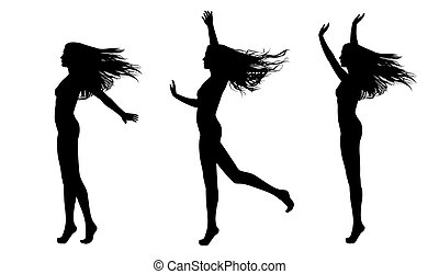 full length silhouettes of a young beautiful naked woman...