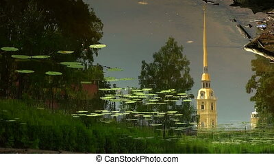 Peter and Paul fortress. The reflection in the water.