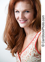 Pretty red hair woman - Close up of beautiful long red hair...