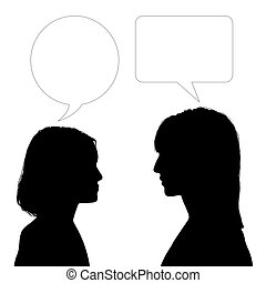 mother and daughter face to face dialogue - silhouette of...