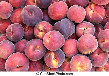 Fresh picked peaches - Full frame of fresh picked peaches