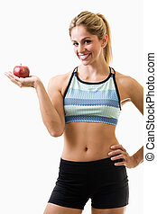 Healthy Eating - Attractive blond hair woman in workout...