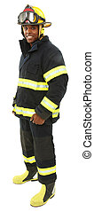 Attractive black middle aged man in fire fighter's uniform...