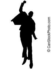 Silhouette excited black businessman jumping with clipping...