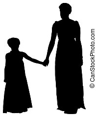 silhouette mother daughter with clipping path - silhouette...