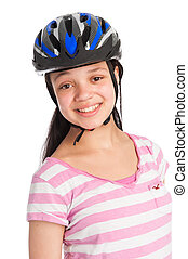 Mixed Race Teenage Girl Wearing a Bicycle Helmet - Teenage...