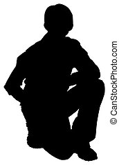 Silhouette of casual teen boy over white background. -...