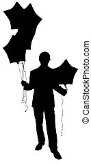 silhouette man in Suit with baloons.