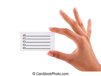 business card with checkbox in hand