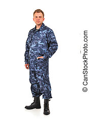 man in blue camouflage clothing on a white background