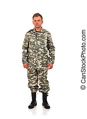 man in camouflage clothing on a white background