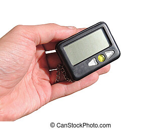 beeper - pager in hand isolation on white background