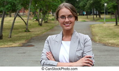 Professional - Portrait of a business lady posing with a...