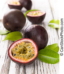 passion fruits - Passion fruits on wooden background