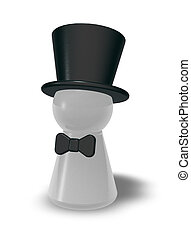 topper - play figure with bow tie and topper on white...