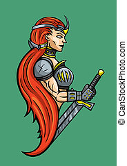 Warrior girl emblem - Stylized woman warrior with sword