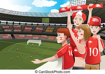 Sports fans in a stadium - A vector illustration of soccer...