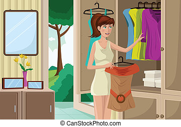 Young woman selecting an outfit - A vector illustration of...