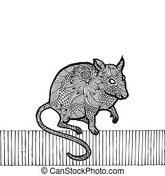 Black Rat- Chinese zodiac, black drawing on simple white...