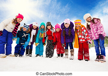 Many kids together on snow day - Large group of kids, boys...