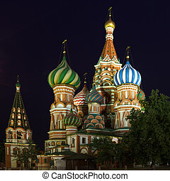 Pokrovsky Cathedral against night sky
