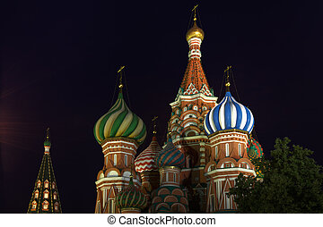 Domes of Saint Basils Cathedral against night sky