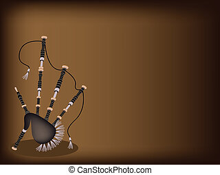A Scottish Bagpipe on Dark Brown Background - Music...