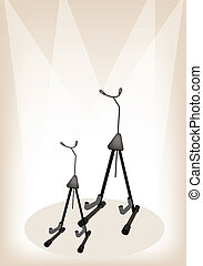 Two Guitar or Violin Stand on Brown Stage Background