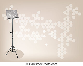 A Music stand on Dark Brown Background - Music Equipment, An...