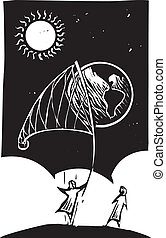 Netting the Earth - Woodcut style image of a person catching...