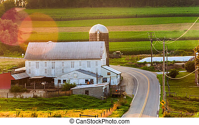 Barn along country road in rural York County, Pennsylvania