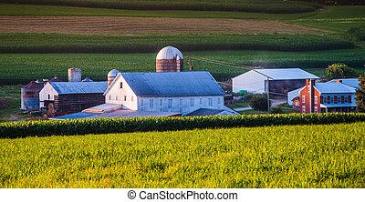 Barn and house on a farm in rural York County, Pennsylvania.