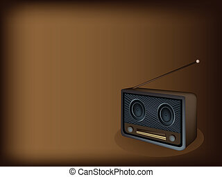 A Beautiful Old Radio on Dark Brown Background
