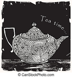 tea time with tea pot and typography