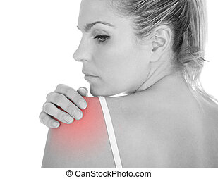 Woman having shoulder pain - Close up of woman having...