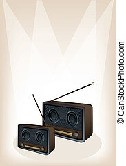 A Beautiful Old Radio on Brown Stage Background