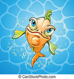 Cartoon fish smiling over water background