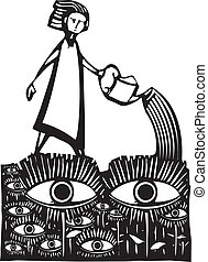 Garden of Eyes - Woodcut style image of a girl watering a...