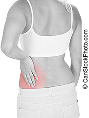 Woman having kidney pain