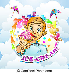 Cartoon little boy with ice cream