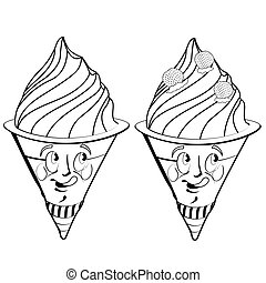 Strawberry ice cream cartoon. Drawing style black on white.