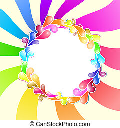 Frame with jelly shapes over colorful spiral