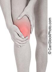 mujer, teniendo, pierna, lesión