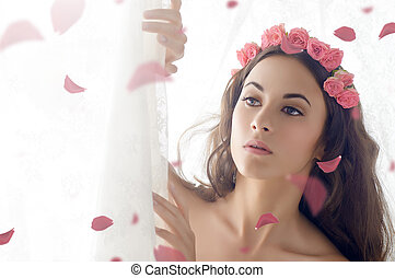 flower girl - beauty woman on the white background