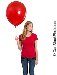 Female with blank red shirt and balloon - Photo of a teenage...