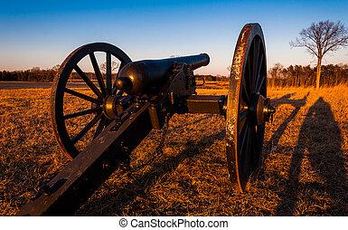 Cannon at sunset, Manassas National Battlefield Park,...